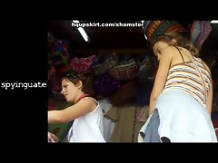 Spying slutty chicks for perfect street upskirt