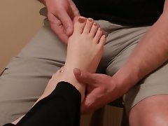 Tops & toes of her soft feet massaged