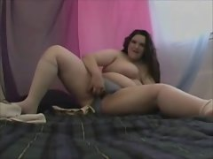 Plumper Cute bbw Girlfriend with Mega big melons dancing and playing with her Vagina