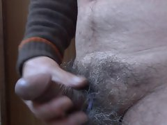 Sensual japanese older man masturbation erect penis