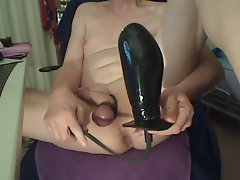 Huge inflatable toy in tense shaven stunning anal