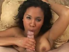Chesty black chick caresses and swallows #226NT