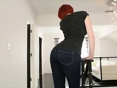 sexual redhead in jeans