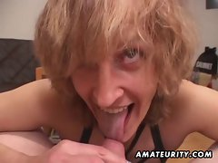 Aged amateur better half gives head with cum in mouth