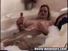 Sexual Heather screws her twat with a red fake penis