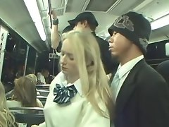 Public train ride is a danger for a tempting blonde lass