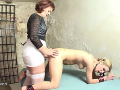 Sensual solid mistress with her young sex slave