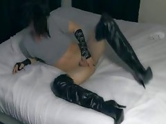 Stripping My Leather Pants & Cumming In Stiletto Boots