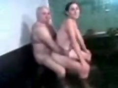 grandpa and 18 years old female in attractive tub (low quality)