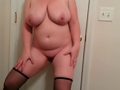 36G knockers Lateshay black stockings and heels tease