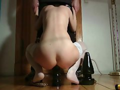 Amateur couple with rectal toys