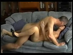 Husband And Dirty wife Have A Quick Fuck On The Couch !