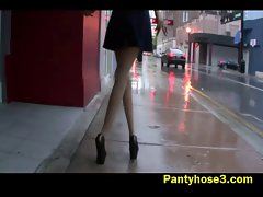 Voyeur video of a lady in pantyhose