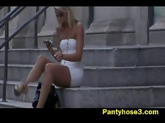Blond girlie nylon upskirt on stairs