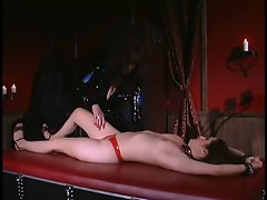 Vixen placed in metal cuffs and spanked