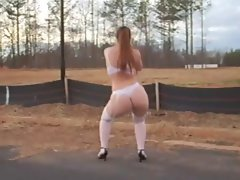 Big Naughty butt White Seductive teen Dances on the Village but, WTF?! - Ameman