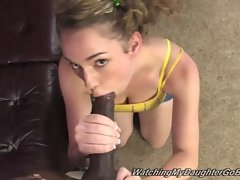 Stupid daughter Sammy Grand go ebony in front of father