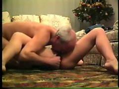 Attractive mature couple get their play going all over the floor