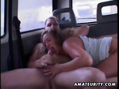 Experienced amateur slutty wife licks and bangs in a car with facial cum
