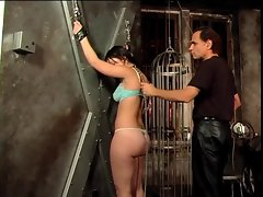 Smoking lewd girl spanked in a BDSM session