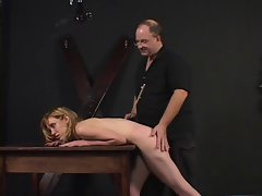 Little tiny breasts lady spanked and teased by her master