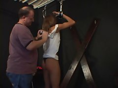 Little tiny breasts slave gets her dirty ass spanked with a paddle