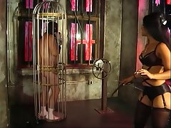 Attractive looking mistress Delilah fooling around with her slave fellow