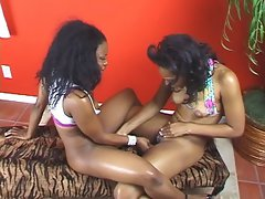 Filthy ebony lesbos attractive 69 fuck