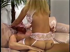 Sensual blondie rectal banged wearing white slip in living room