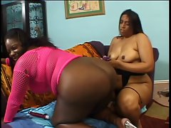 Lesbos ebony housewifes extremely large tits fondled and butt grinded with toy on the floor