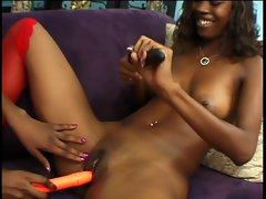 Two stunning 18 years old ebony lezzies love to lick snatch and play with vibes and toy