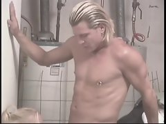Sensual blondie strokes shaft in laundry room