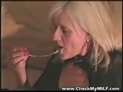 Light-haired granny Filthy bitch in bodystockings
