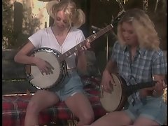 Banjo-playing blondie tramps with awesome hooters are screwed by happy redneck on village