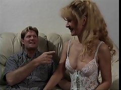 Sexual attractive mature blond in lingerie gets banged on a couch