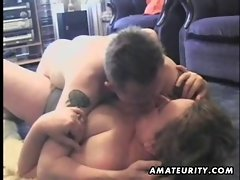 Attractive mature and top heavy amateur dirty wife strokes and screws a 19yo fellow
