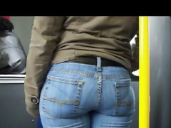 CANDID Naughty bum IN Narrow BLUE JEANS