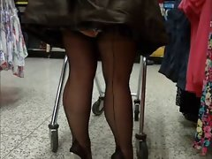 Ebony seamed stockings and silver mules