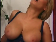 Shorthaired blond puma with mega boobs hit by younger shaft