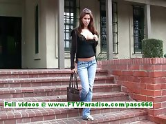 Sabrina great dark haired young woman public flashing knockers