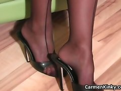 Luscious dark haired and blond teacher part1