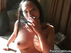 Luscious filthy ebony hoe lights a cigar part2
