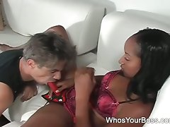 Lustful ebony femdom punishing a male slave