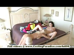 Chloe James and Cody Love amateur sassy teen lesbos having sex on the bed