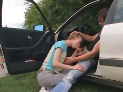 barely legal american young woman banged on the car