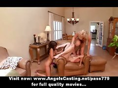 Three attractive randy chicks having a lesbo orgy and playing toy