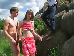 bewitching double fuck outside with teenager
