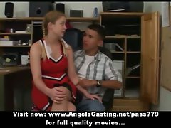 Redhead cheerleader does dick sucking for nerdy chap in principals office