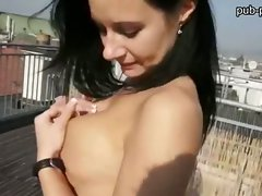 Big melons bombshell banged on the rooftop