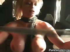 Nude blond cutie smokes cigar with her part2